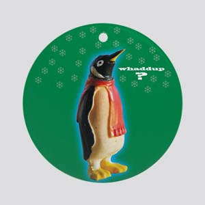 Whaddup? Penguin Xmas Ornament (Round)
