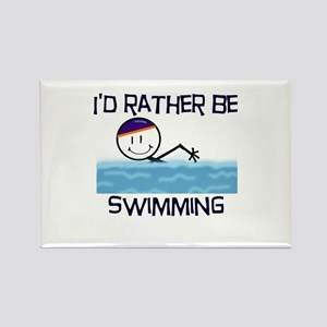 I'd Rather Be Swimming Rectangle Magnet