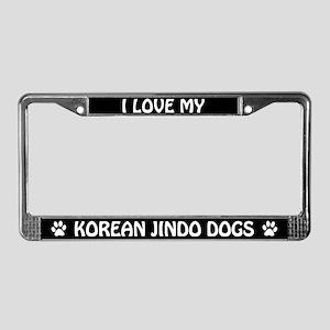I Love My Korean Jindo Dogs License Frame