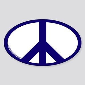 Peace Symbol Oval Decal (navy on white)