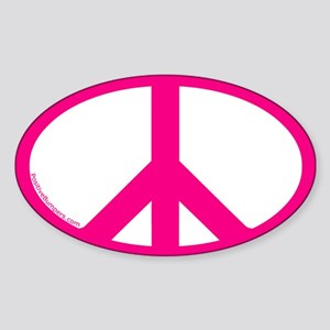 Peace Symbol Oval Decal (pink on white)