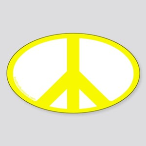 Peace Symbol Oval Decal (yellow on white)