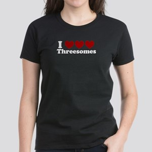 Heart Heart Heart 3somes Women's Dark T-Shirt