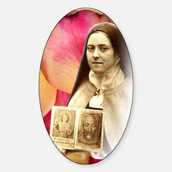 Saint Therese Rose Oval Decal