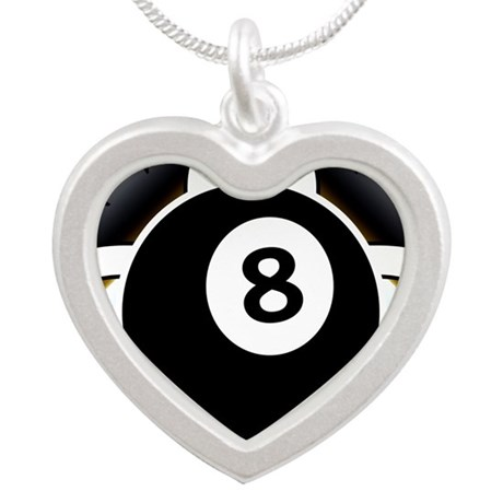 8 Ball Deco Silver Heart Necklace