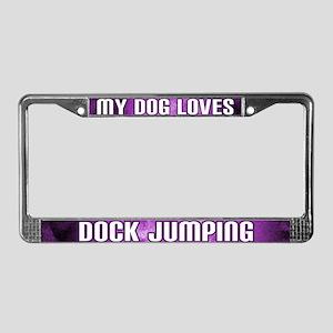 Dog Loves Dock Jumping License Plate Frame (Prp)