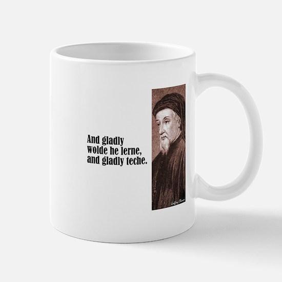 """Chaucer """"Gladly Lerne"""" Mug"""