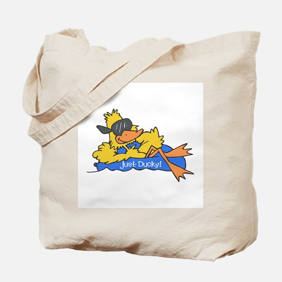 Ducky on a Raft Tote Bag
