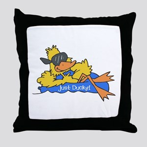 Ducky on a Raft Throw Pillow