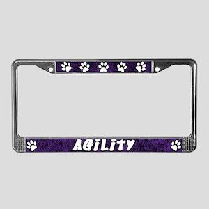 Paw Print Dog Agility License Plate Frame (Purple)