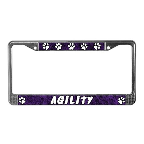 Paw Print Dog Agility License Plate Frame (Purple)