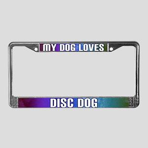 Dog Loves Disc Dog License Plate Frame (Rainbow)