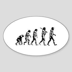 Evolution of Man Oval Sticker