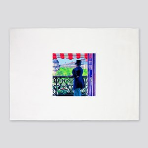 Gustave Caillebotte Man on Balcony 5'x7'Area Rug