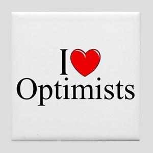 """I Love (Heart) Optimists"" Tile Coaster"