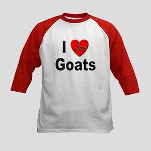 I Love Goats (Front) Kids Baseball Jersey