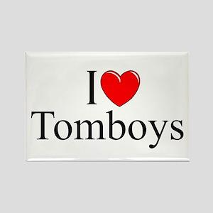 """I Love (Heart) Tomboys"" Rectangle Magnet"