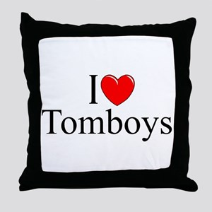 """I Love (Heart) Tomboys"" Throw Pillow"