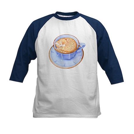 Cat in Coffee Kids Baseball Jersey