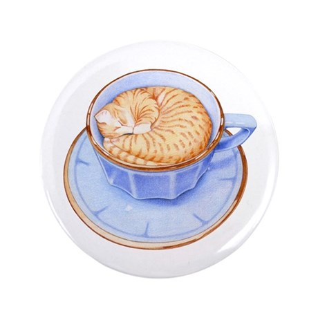 "Cat in Coffee 3.5"" Button"