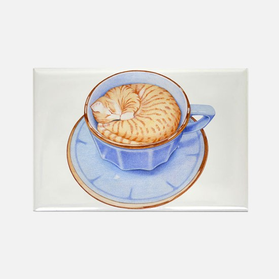 Cat in Coffee Rectangle Magnet (10 pack)