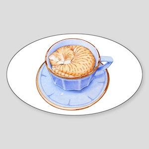 Cat in Coffee Oval Sticker