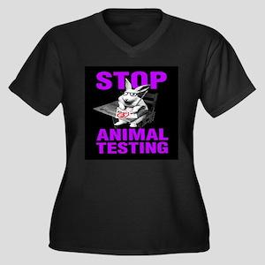 STOP ANIMAL TESTING purple Women's Plus Size V-Nec