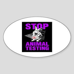 STOP ANIMAL TESTING purple Oval Sticker