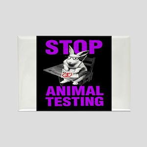 STOP ANIMAL TESTING purple Rectangle Magnet