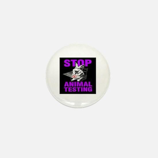 STOP ANIMAL TESTING purple Mini Button