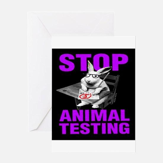 STOP ANIMAL TESTING purple Greeting Card