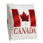 Canada Flag Souvenirs Burlap Throw Pillow