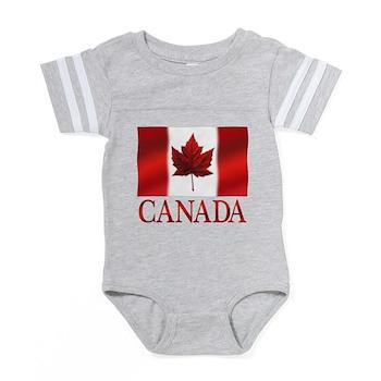 Canada Flag Souvenirs Baby Football Bodysuit