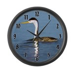 Clark's Grebe Large Wall Clock