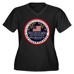 Marine Corps Aunt Women's Plus Size V-Neck Dark T-