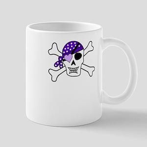 Pirate Girl Skull Purple Bow Mugs