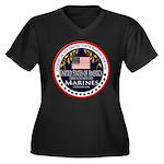 Marine Corps Veteran Women's Plus Size V-Neck Dark