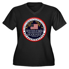 Marine Corps Niece Women's Plus Size V-Neck Dark T