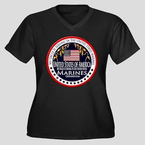 Marine Corps Uncle Women's Plus Size V-Neck Dark T