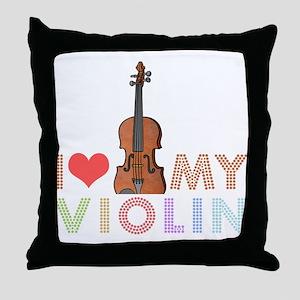 I Love My Violin Throw Pillow