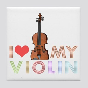 I Love My Violin Tile Coaster