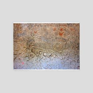 Warrior relief carving, Ankor Wat 5'x7'Area Rug