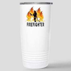 Firefighting Flames Stainless Steel Travel Mug