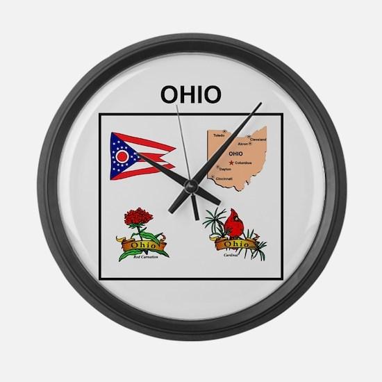 stae of ohio design Large Wall Clock