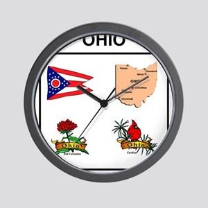 stae of ohio design Wall Clock