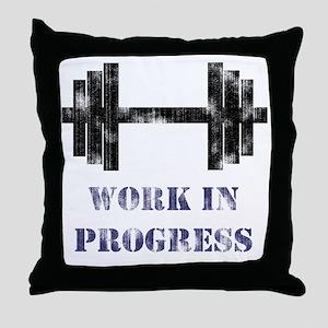 Gym Work In Progress Distressed Throw Pillow