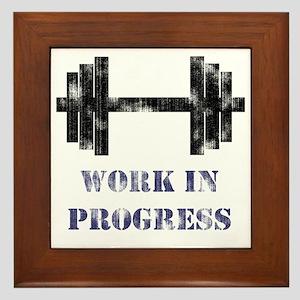 Gym Work In Progress Distressed Framed Tile