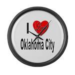 I Love Oklahoma City Large Wall Clock