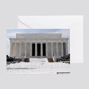 Lincoln Memorial in the snow Greeting Cards (Packa