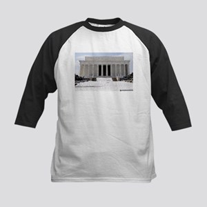 Lincoln Memorial in the snow Kids Baseball Jersey